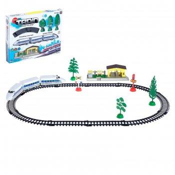 Железная дорога электропоезд работает от батареек, со станцией