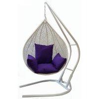Подвесное кресло на стойке алания, белое/фиолетовая