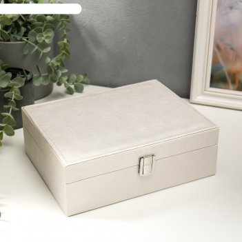 Шкатулка кожзам для украшений пионы и лепестки белая 8,5х23,5х18,5 см