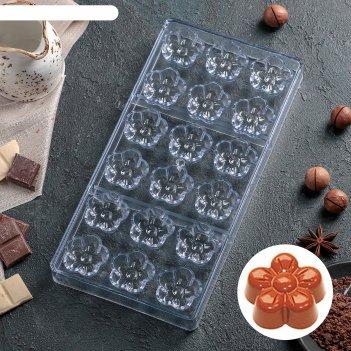 Форма для шоколада 18 ячеек цветок 28х14х2,5 см