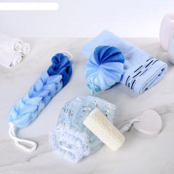 Набор банный, 6 предметов: 3 мочалки, полотенце, пемза, шапочка для душа,