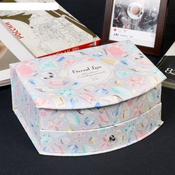 Шкатулка кожзам для украшений комод 1 ящик самоцветы 9х21х17 см