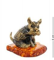 Am-1977 фигурка собака шнауцер (латунь, янтарь)