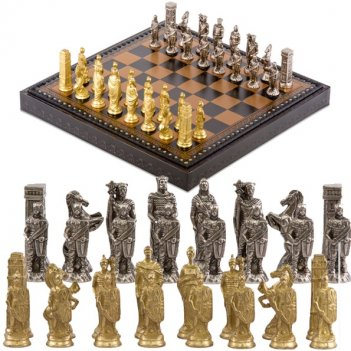 Шахматы 35х35 рим (6-8см) от italfama (дерево, кожа, бронза, олово)