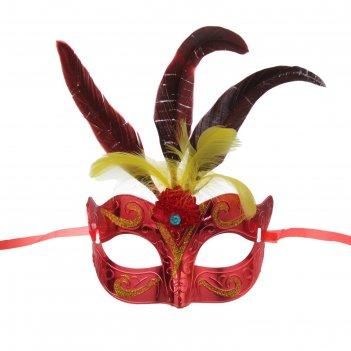 Карнавальная маска новинка с перьями, цвета микс