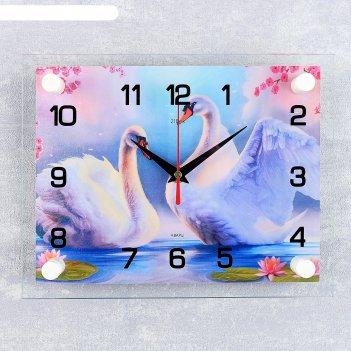 Часы настенные, серия: животный мир, пара лебедей, 20х26 см микс
