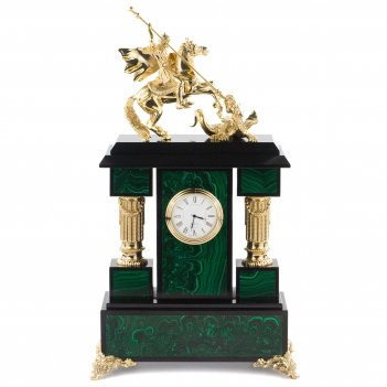 Часы георгий победоносец малахит долерит бронза 205х100х355 мм 5500 гр.