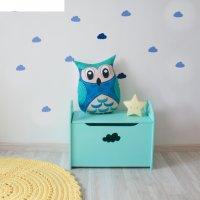 Сундук деревянный  для игрушек, 50 х 40 х 30 см, бирюзовый с облачком