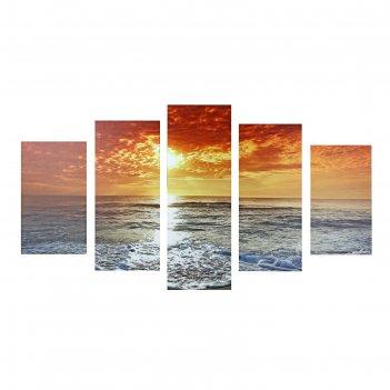 Картина модульная закат у моря 75*135см