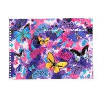Альбом для рисования а4, 20 листов на гребне бабочки глиттер