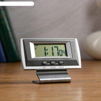 Часы настольные электронные канис: календарь, будильник, 1 ааа,  10.5х4.2х