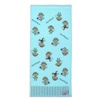 Полотенце махровое купу-купу обезьянки 70*130 см, голубой хл100% 420 гр/м