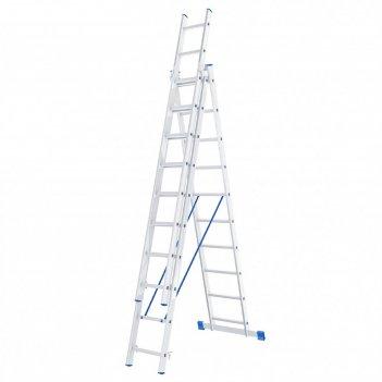 Лестница шарнирная 97820, алюминиевая, трехсекционная, 3х11 ступеней