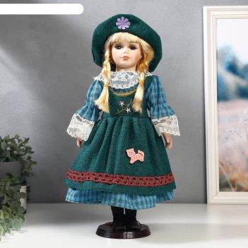 Кукла коллекционная керамика блондинка с косами, зелёный сарафан и платье