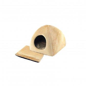 Домик меховой пирамида-кугуар с подушкой, 36 х 36 х 35 см, бежевый