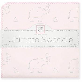 Фланелевая пеленка для новорожденного swaddledesigns слоники с птичками ро