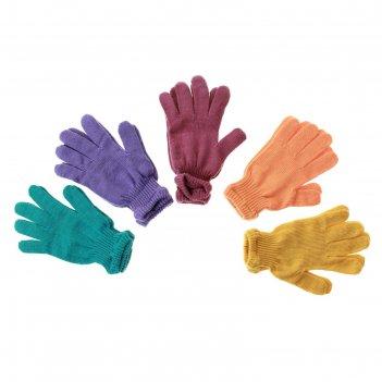 Перчатки вязанные одинарные цветные с13 размер  18, микс