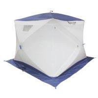 Палатка призма 230 (2-сл) с 2 входами, люкс алюминий, бело-синяя