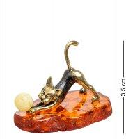 Am-1486 фигурка кошечка игривая (латунь, янтарь)
