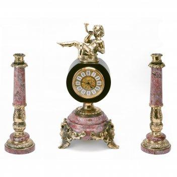 Часы с подсвечниками ангел с дудочкой бронза креноид