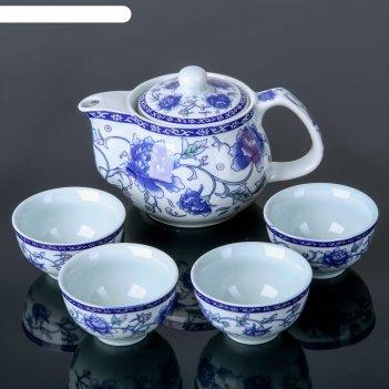 Набор для чайной церемонии синий цветок, 5 предметов: чайник 200 мл, 4 чаш