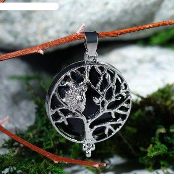 Подвеска дерево в круге агат чёрный