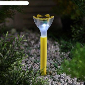 Фонарь садовый на солнечной батарее цветок желтый, 32 см, d=6 см, 1 led, п
