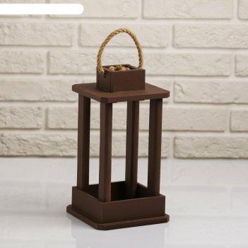 Кашпо деревянное фонарь, ручка верёвка, коричневый, 16x16x30 см
