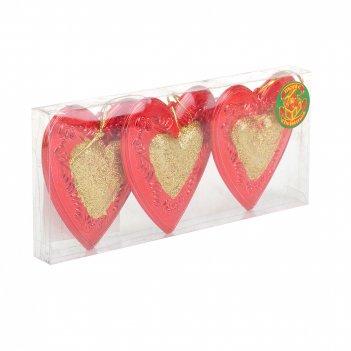 Украшение новогоднее (подвесное), набор 3шт. сердце h=8см. (блистер)