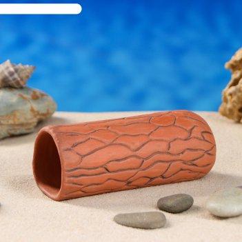 Аквариумная декорация терракотовая трубка,  коричневая средняя
