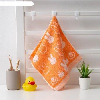 Полотенце махровое крошка я зайка 25*50 см, цв.оранжевый, 100% хлопок, 400