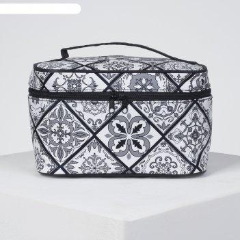 Косметичка-сундук орнамент, 19*11*11,5см, отдел на молнии с зеркалом, черн