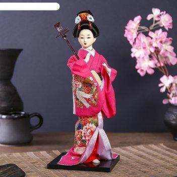 Кукла коллекционная японка в цветочном кимоно с музыкальным инструментом 3