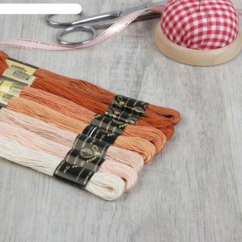 Набор ниток мулине «crema», 10±1 м, 7 шт, цвет бежевый спектр
