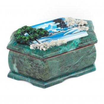 Шкатулка с рисунком зимний пейзаж 170х105х70 мм 1330 гр.