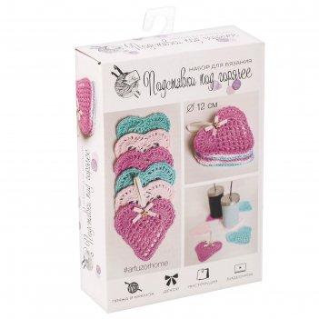 Салфеточки-сердечки, набор для вязания, 11 x 16 x 4 см