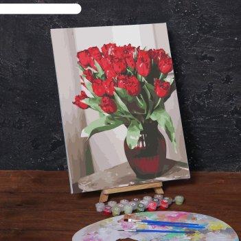 Картина по номерам на холсте с подрамником «красные цветы», 40х30 см