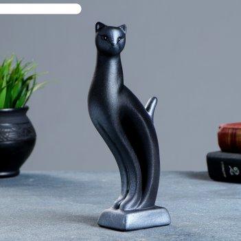 Фигура кошка рысь чёрная с серебром 7 x 5 x 21 см 082