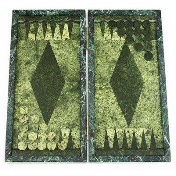 Настольные нарды из змеевика ромб арт.3315