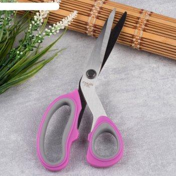 Ножницы закройные, скошенное лезвие, 21 см, цвет микс