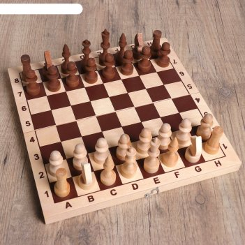 Шахматы основа (доска дерево 29х29 см,фигуры дерево, король h=7.2 см, пешк