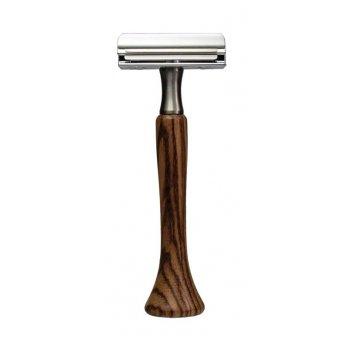 Станок для бритья erbe с двумя лезвиями, цвет хром, ручка- дерево.