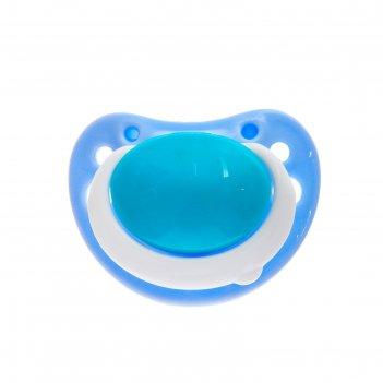 Пустышка силиконовая ортодонтическая, от 3 мес., цвет голубой