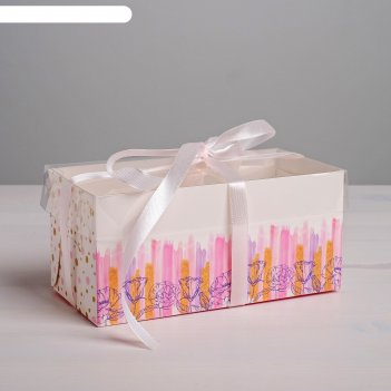 Коробка для капкейка flower patterns, 16 х 8 х 7,5 см