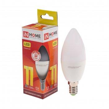 Лампа светодиодная in home led-свеча-vc, 11 вт, е14, 230 в, 3000 к, 820 лм