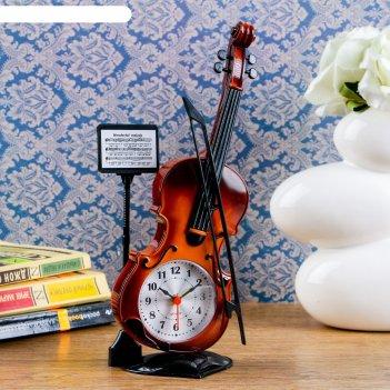Будильник скрипка с пюпитром, 27х10 см, микс