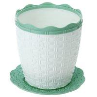 Кашпо 1,5 л плетенка, поддон, бело-зеленое