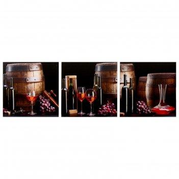 Модульная картина истина в вине (3-35х35) 35х105 см