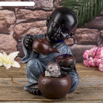 Фонтан настольный маленький будда с чайником 34х21х20 см