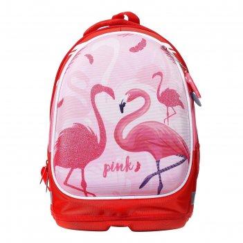 Рюкзак каркасный calligrata, 39 х 28 х 18 см, + мешок для обуви, «фламинго